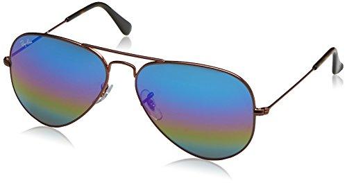 Ray-Ban Unisex-Erwachsene Sonnenbrille Rb 3025, Metallic Dark Bronze/Lightgreymirrorrainbow2, 58