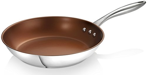 "Ozeri 12"" Earth Pan Eterna, a 100% Pfoa and Apeo-Free Non-Stick Coating, Stainless Steel, Bronze Interior, 30cm"