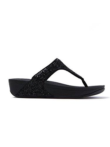 FitFlop™ Glitterball Womens Fuß Post Sandalen Black Glitter