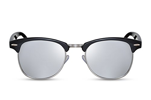 Cheapass Sonnenbrille Schwarz Silber Verspiegelte Gläser UV400 Retro Rahmen Festival Accessoires Damen Herren