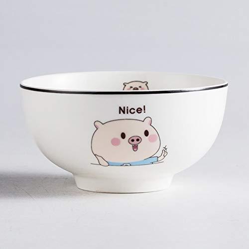 Tazón de cerámica Simple, vajilla, vajilla, Porcelana, Moda, tazón, Personalidad, tazón pequeño Nuevo, Lindo, Modelo de Cerdo, Boca, Cuenco, vajilla para el hogar (Color : Blue)