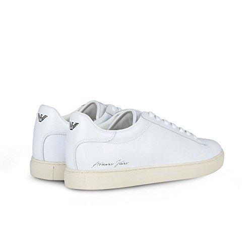 055e2c639fb Armani Jeans Signature Low Top Homme Baskets Mode Blanc white Shopping  Authentique Grande Vente