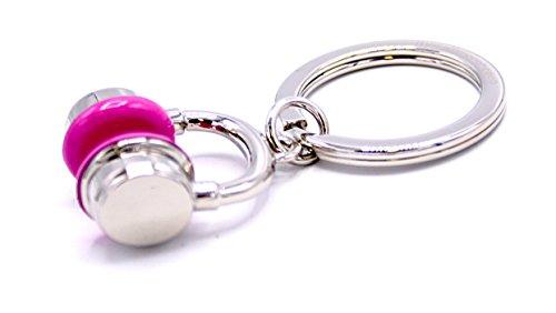 Dj Key Ring (Schlüsselanhänger Kopfhörer pink chrom glänzend)
