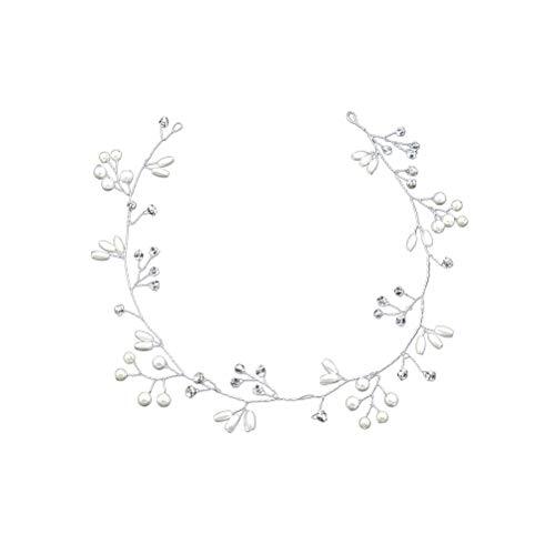 Elegance Brautschmuck Haarband Perlen Kristall Weinrebe für Frauen Mädchen (35 cm)