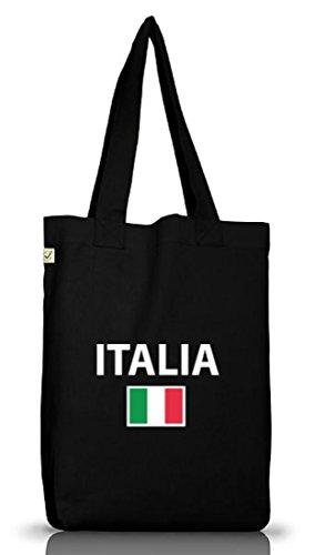 Shirtstreet24, EM/WM 20 - Italia, Italien Italy Jutebeutel Stoff Tasche Earth Positive (ONE SIZE), Größe: onesize,Black (Italia Italien Wm)