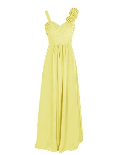 Dresstells, Robe de soirée/cérémonie/demoiselle d'honneur col en cœur bretelles classiques une ligne avec fleurs Jaune