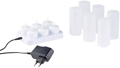 Lunartec LED Kerzen aufladbar: 6 LED-Akku-Teelichter, flackernde Flamme, Teelichthalter, Ladestation (Elektrische Teelichter)