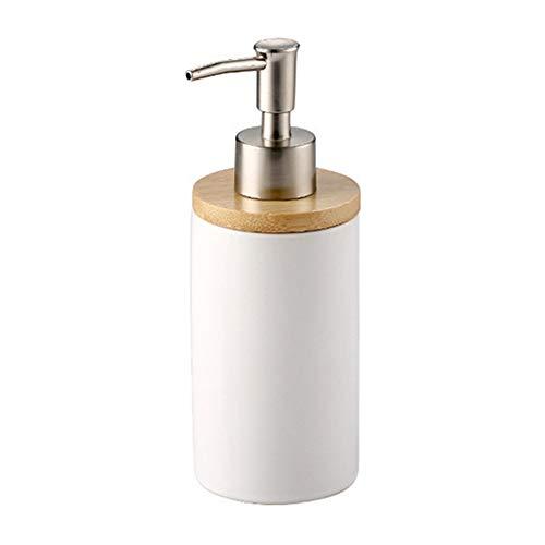 BulzEU - - Keramik Seifenspender Zahnbürstenhalter Becher mit Bambus Ständer Bad Zubehör Set - Seifenspender mit Pumpe, Zahnbürste, Becherbecher Soap Dispenser - Keramik-soap