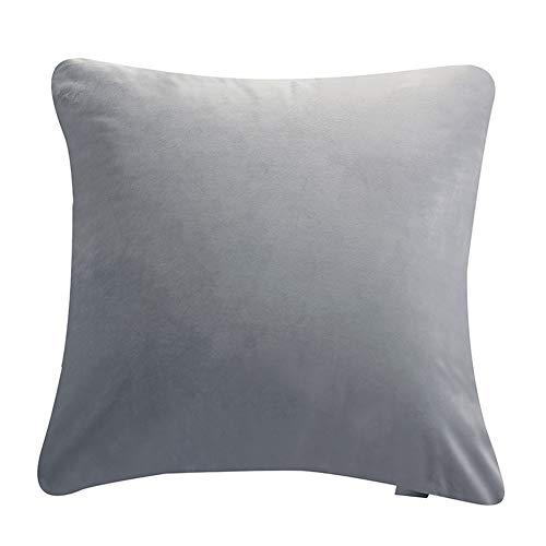 DaiHan 1er Set SAMT Soft Solid Dekorative Quadrat Wurf Kissenbezüge Set Kissen Fall für Sofa Schlafzimmer Auto Hell Grau 30 * 45cm(1*Pillowcase)