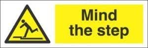 Warning Mind The Step Sign 300Mm X100Mm S/A Vinyl