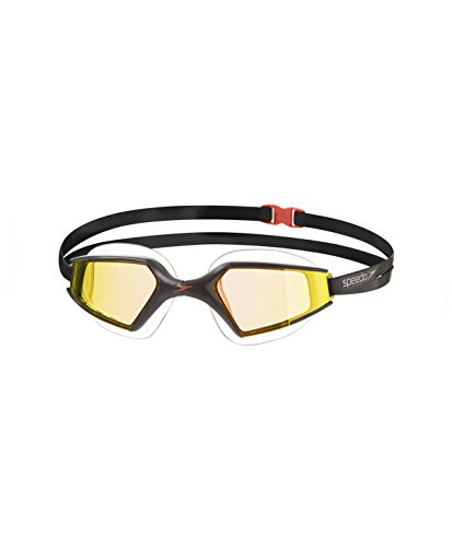 Speedo Unisex Schwimmbrille Aquapulse Max 2 Mirror, black/orange gold, one size, 8-09795A260