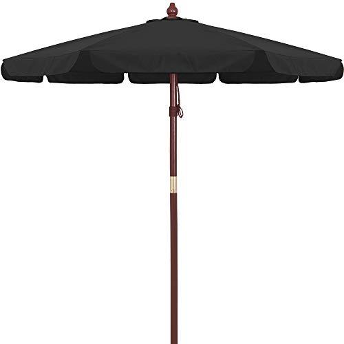 Deuba Parasol en Bois Ø 330cm Jardin Extérieur Système à Corde 100% Polyester - Noir