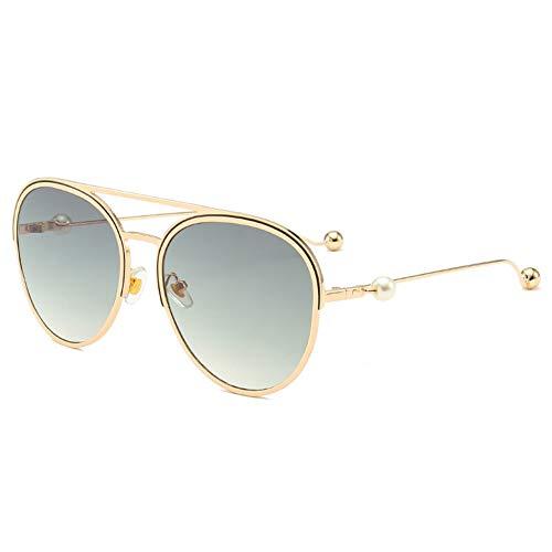 HQMGLASSES 2019 Aviator Sonnenbrille für Damen, Modedesignerin Pearl & Gradient Lens Shades Sonnenbrille für Driving Beach UV400,GreenGradient