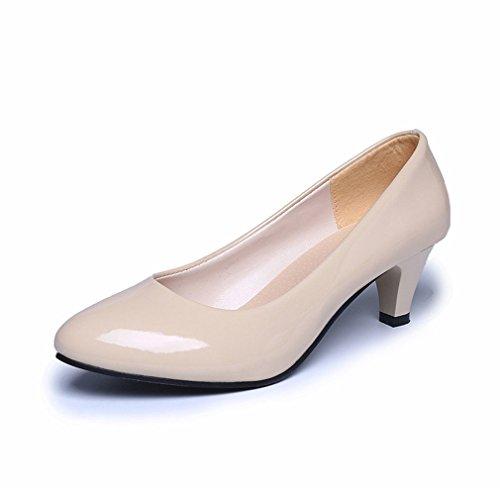 LnLyin Damen Kitten Heel Schuhe Hochzeit Schuhe OL Schuhe Pumps Nubuk Flach Mund Arbeit Schuhe Füße Schuhe für Damen Frauen Mädchen Beige 38
