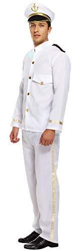 Herren Weiß Kapitän Marineoffizier Matrose Militär Uniform Kostüm -
