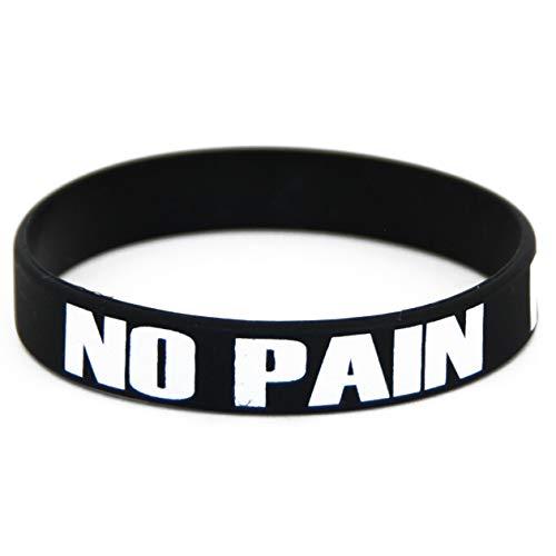 Extiff Bracelet Noir no Pain no Gain - Silicone/Caoutchouc pour Homme, Femme ou Enfant - Sport, Fitness, Musculation, Crossfit, Workout, Gym