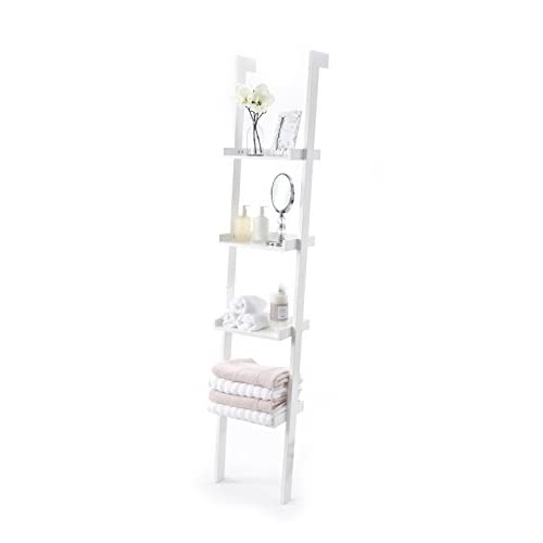 Ladder Leaning Bookshelf, Wooden with White Paint Finish, 4 Tiers – Sennen Range by Elegant Brands