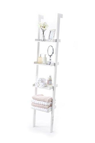 Leiterregal, Holz mit weißem Farb-Finish, 4 Etagen, Sennen-Serie von Elegant Brands -