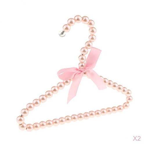 Tasche Klemmbügel (Homyl 2 stück Kinderkleiderbügel Kunststoff Kleiderbügel Perlen Wäschebügel mit Bowknot Dekor)