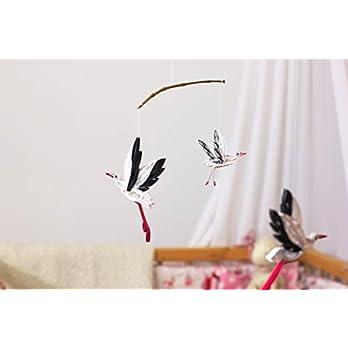 Mobile Storchenfamilie, Baby Mobile, Windspiel, Kinderzimmer Dekoration, leichtes Mobile, Taufgeschenk, Baby Geschenk, Papierstorch