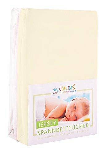 Julius Zöllner Jersey Spannbetttuch Doppelpack für das Kinderbett, Gr. 60x120 / 70x140, ecru & weiß