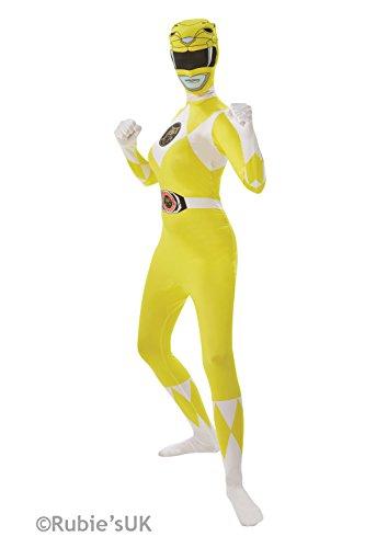 ostüm Zweite Haut Ganzkörperanzug Gelb-Weiss S (Mighty Morphin Power Rangers Kostüm Weiß)