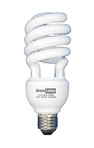 Green Lamp YPZ-US-20W E27 Edison Screw 20 Watt 6400k Compact Fluorescent Light Energy Saving Bulb also for Treating SAD, Cool