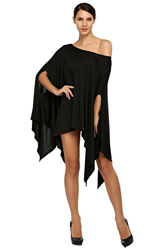 CRAVOG T-Shirt Bluse Top Oberteil Women Sexy Batwing Sleeve Loose T-shirt Loose Blouse Tops Irregular Hem Schwarz