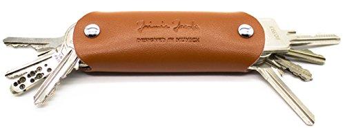 JAIMIE JACOBS Key Boy - Key Organizer Schlüssel Organizer Keycage Schlüsselmäppchen Smartkey Schlüsseletui Schlüsseltasche aus echtem Leder (Braun)