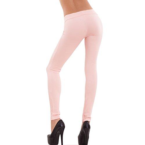 Toocool - Pantaloni donna leggings elasticizzati skinny riga aderenti slim nuovi AS-3089-1 Rosa