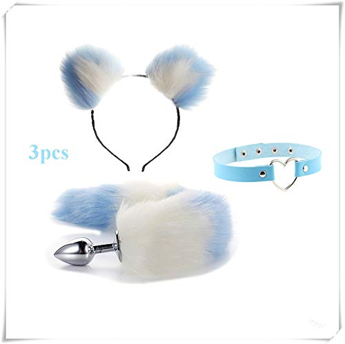 ieyol Dress Up Popular Party Toy Game Suit Set - Fox tail+heart ring blue leather choker Fashion Short Plush Cat Ears Women's Headwear(white&blue5)