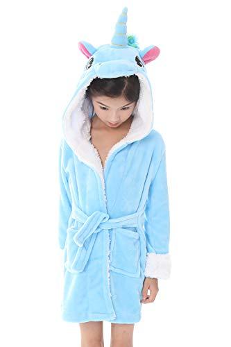 n Mädchen Morgenmantel Bademäntel Kapuzenpullover Korallenvlies Kigurumi Karikatur Nachtwäsche Nachthemd Schlafanzug (140 fit für Höhe 130-140CM (51