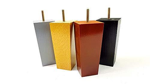 PKC147C Möbelfüße aus Holz, 150 mm hoch, verschiedene Farben, Ersatzfüße für Sofas, Stühle, Sitze, Hocker (8 mm), 4 Stück, gold -