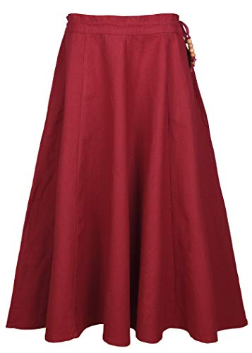 Mittelalter Rock für Mädchen Lucia aus Baumwolle - Gewand Kinderkostüm Mittelalterliche Kleidung Wikinger (rot, ()