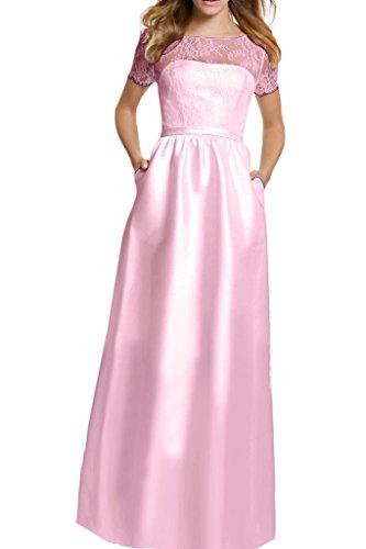 Ivydressing Damen Einfach Kurz Aermel A-Linie Rueckenfrei Satin&Tuell Festkleid Ballkleid Abendkleid L