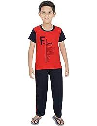 Ginessa Boys Half Sleev Multi Colour Cotton top Bottom Printed Night Suit Set Sports Wear Set