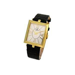 Oskar Emil Salzburg Black IP – Reloj de Caballero de Cuarzo, Correa de Piel Color Negro