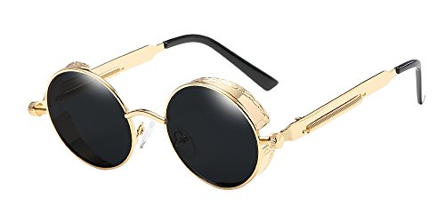 BOZEVON Punk Runde Sonnenbrille - Klassische Metall Radfahren Retro Sonnenbrille für Damen & Herren Gold-Grau
