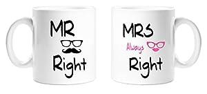 Herr und Frau immer Recht rosa Lippen und Sonnenbrille und Schnurrbart Design–perfekte Neuheit Geschenk Set für Pärchen für jede Gelegenheit–11Oz Tee/Kaffee Becher/Tassen