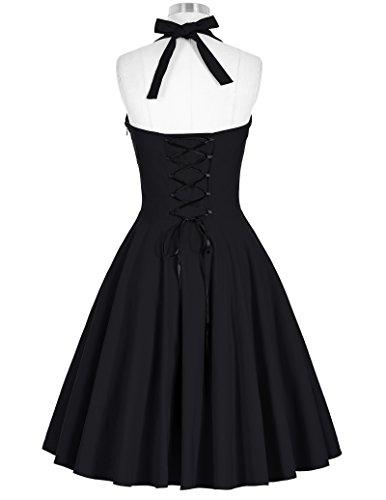 Damen Vintage Kleid Treffen Kleid Neckholder Festliche Kleid L BP185-1 -