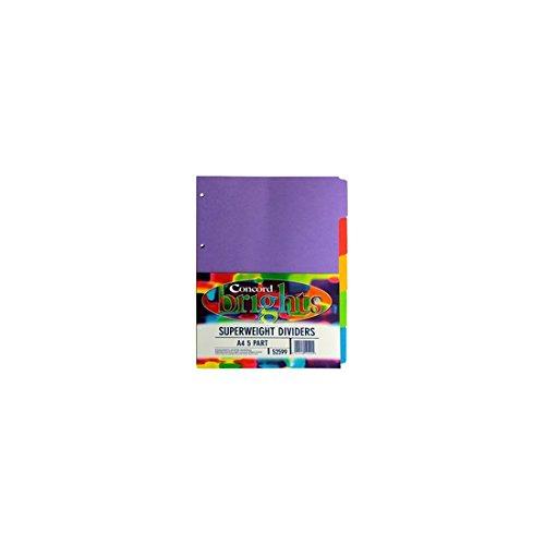 Concord Registereinlagen, 5Stück, sortiert, Hohes Gewicht, kräftige Farben, A4,Trenneinsätze