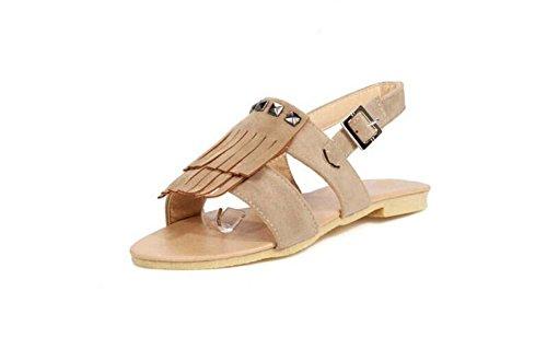 Beauqueen Sandales Femmes Eté Pompes Tassel Flat Buckle Femmes Occasionnels Chaussures Taille Spéciale Europe 30-43 Brown
