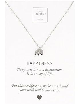 LUUK LIFESTYLE Damen Schmuck, Geschenkkarte, Halskette mit Elefanten Anhänger und Happiness Spruchkarte, Glücksbringer...