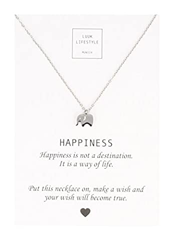 """LUUK LIFESTYLE Women's jewelry, gift card, necklace with elephant pendant and card with """"HAPPINESS"""" saying, lucky charm, silver"""
