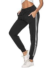 Aibrou 100% Algodón Pantalones Deportivos para Mujer Pantalones de Pijama Largos Primavera Verano Pantalón de Chándal con Bolsilpara Gimnasio Deportes Correr Jogging