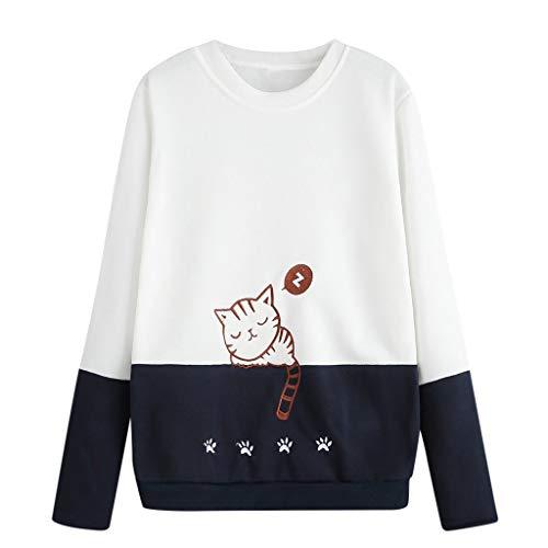 Chaink_1 Damen-Sweatshirt, Bestickt, klassisch, lässig, Patchwork-Bluse, Top, Lange Ärmel, Solid Sweater Tops, Bluse 2019 Gr. Large, weiß (Jumper Bestickte)