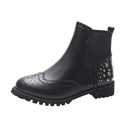 HhGold Tobillo Botas de Invierno Mujer Zapatos Martin, Motocicleta Tachonado Punk Retro Bloque Alto...
