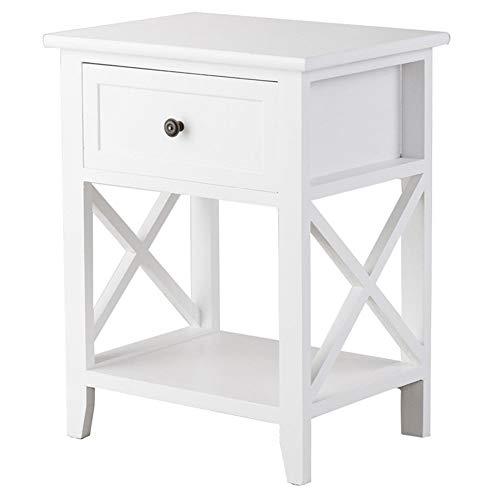 Quintion Child Möbel Moderner hölzerner Nachttisch mit Schublade und unterem Regalschlafzimmermöbel (Farbe : Weiß) -
