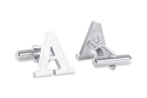 SMARTEON® Manschettenknöpfe für Herren | Premium Buchstaben A-Z | Silber & Schwarz aus hochwertigem Edelstahl in mattem Design | Elegante Cufflinks in einem edlen Geschenk-Set (A - silber)