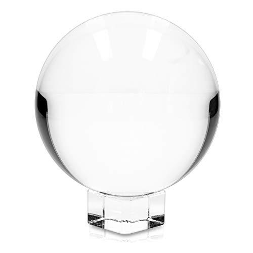 Navaris Glaskugel Fotografie Kugel aus K9 Glas - Fotokugel mit Ständer - Kristallkugel Klare Kristall Deko mit Glasständer - Ø 100mm (Fotos 100)
